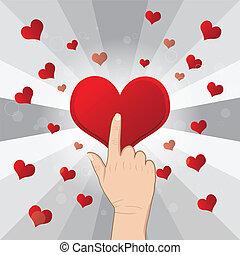 hand pushing heart