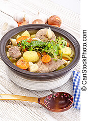 Vegetable stew with meat and herbs