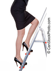 manager on career ladder - a woman climbs in the management...
