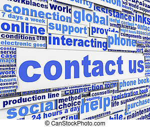 Contact us message concept. Global support icon conceptual...