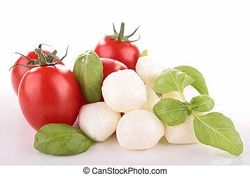 tomato,mozzarella and basil on white