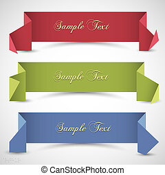 Three origami banners for design