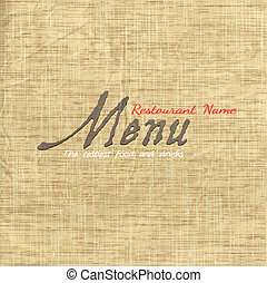 Menu card design on texture old paper. Vector eps10
