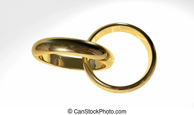 Golden interlocked rings - Golden interlocked wedding rings...
