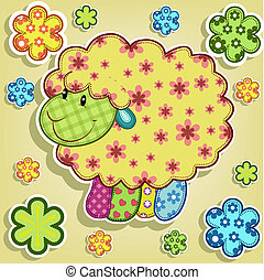 Multicolored sheep with flowers