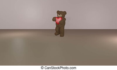 Teddy bear giving heart - Teddy bear carrying a red heart...