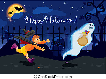 Halloween card with a ghost who stole the candies from a boy