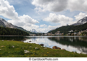 Lake St Moritz - St Moritz is a resort town in the Engadine...