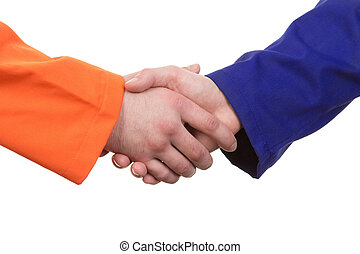 Workman handshake - A handshake between two workmen,...