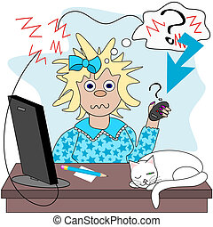 No connection - Frazzled lady wondering why she has no...