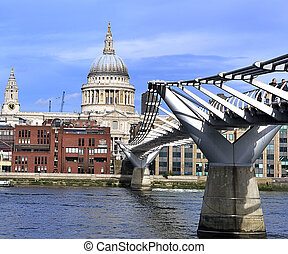London Millennium Bridge over Thames