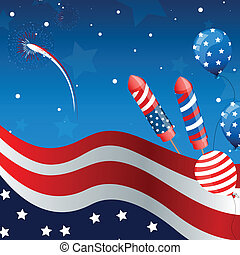 Vector Independence Day Background - Vector illustration of...