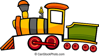 cartoon train or locomotive - cartoon illustration of cute...