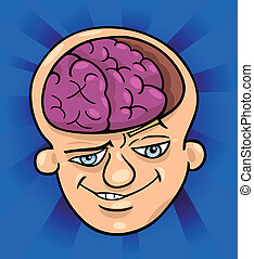 brainy man cartoon illustration - Humorous Cartoon...