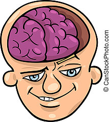 brainy man cartoon - Humorous Cartoon Illustration of Brainy...