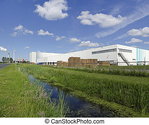 industrial warehouse - exterior of a large industrial...