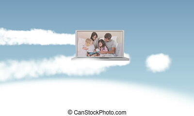 Video of happy family in the sky - Animation of happy family...