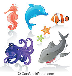 Vector Sea Creatures - Set of Vector Cartoon Sea Creatures