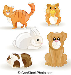 Vector Pets - Vector set of cartoon pets