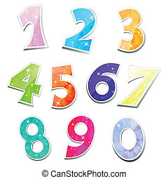 Sparkling Vector Numbers - Vector Set of sparkling numbers