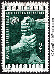 Postage stamp Austria 1969 Hands Holding Wrench - AUSTRIA -...