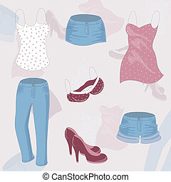 Vector Clothing Background - Vector background with various...