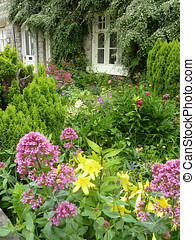 Postcard view of English terraced cottage gardens