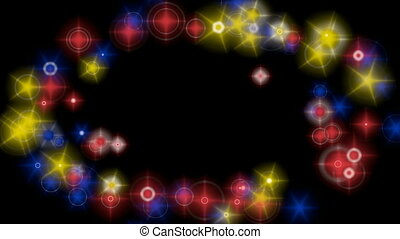 Multicolored lights frame - Multicolored light particles...