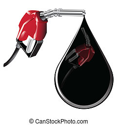 Gas pump with drop oil - Reflection in a drop of oil to fuel...
