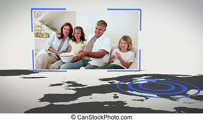 Videos of family with Earth image c - Animation of family...