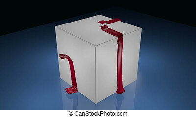 Gift box opening - Gift box tied with ribbon opening up and...