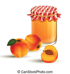 Vector Jar and Peaches - Vector illustration of fresh...