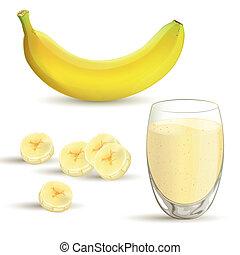 Vector Banana Set - Vector illustration of a banana and a...