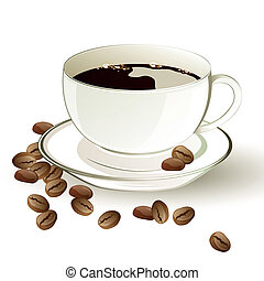 Vector Coffee - Vector illustration of a cup of coffee and...