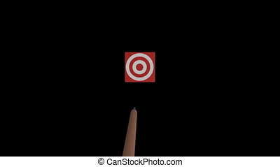 Arrow hitting centre of target - Arrow flying straight to...