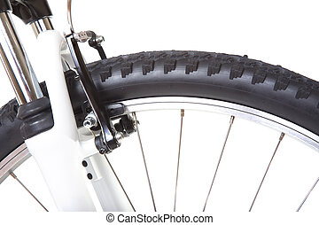 Wheel with tire of mountain bike, isolated on white...