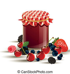 Vector Jar and Berries - Vector illustration of fresh wild...
