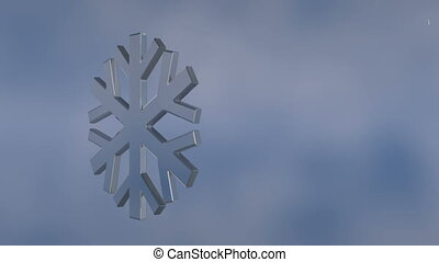 Winter background - Background with falling snowflakes and a...
