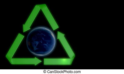 Earth with recycling sign - Spinning planet Earth with...