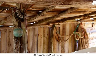 Balearic islands fisher boat wooden sunroof house typical...
