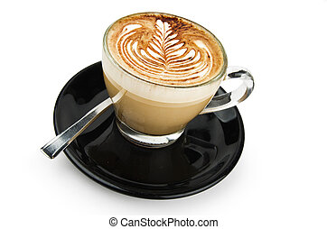 cup of cappuccino with artistic cream decoration