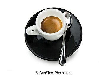 Cup of coffee on the black plate