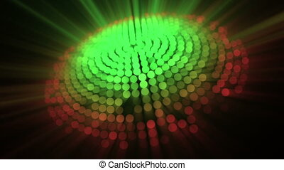 Circle of light and red green dots