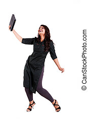 happy woman holding new laptop in excitement isolated on...