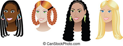 Women with Braids and Plaits - Vector Illustration set of...