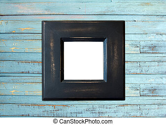 Black Vintage picture frame on blue wood background - Black...