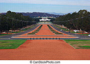 parliament house - view to parliament house canberra from...