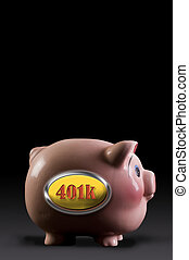 401K Pink Piggy Bank.