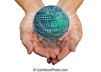 Round Circuit Board. - Round circuit ball board in hands.