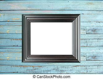 Black Vintage picture frame on blue wood background - Black...